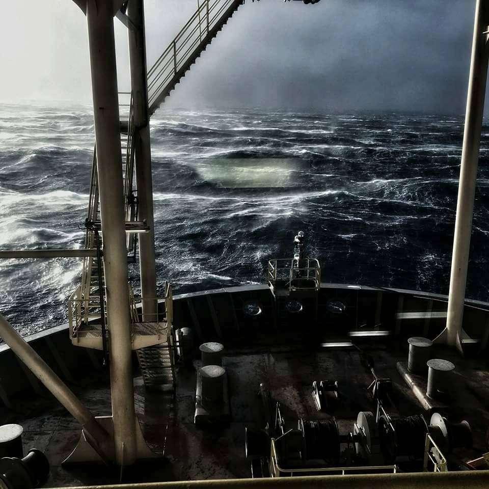 Zdjęcie wykonane na Morzu Północnym podczas sztormu Gertruda Patryk Sekulski