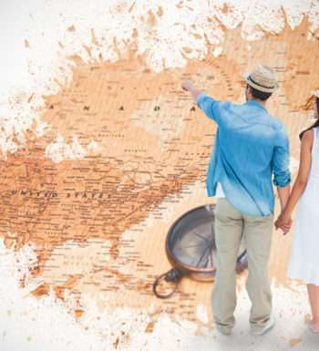 36445042 - happy hipster couple holding hands and looking against world map with compass showing north america