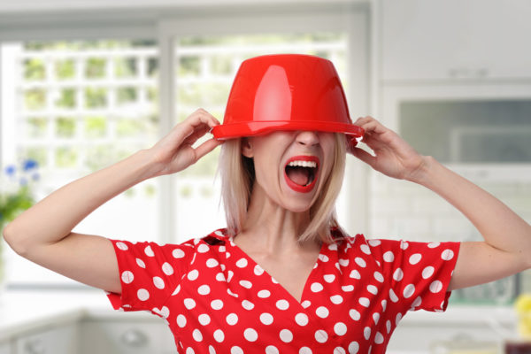 Funny expression portrait of Angry yelling woman, tired stressed housewife